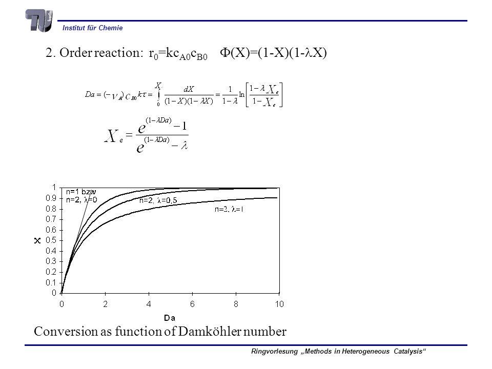 2. Order reaction: r0=kcA0cB0 F(X)=(1-X)(1-lX)