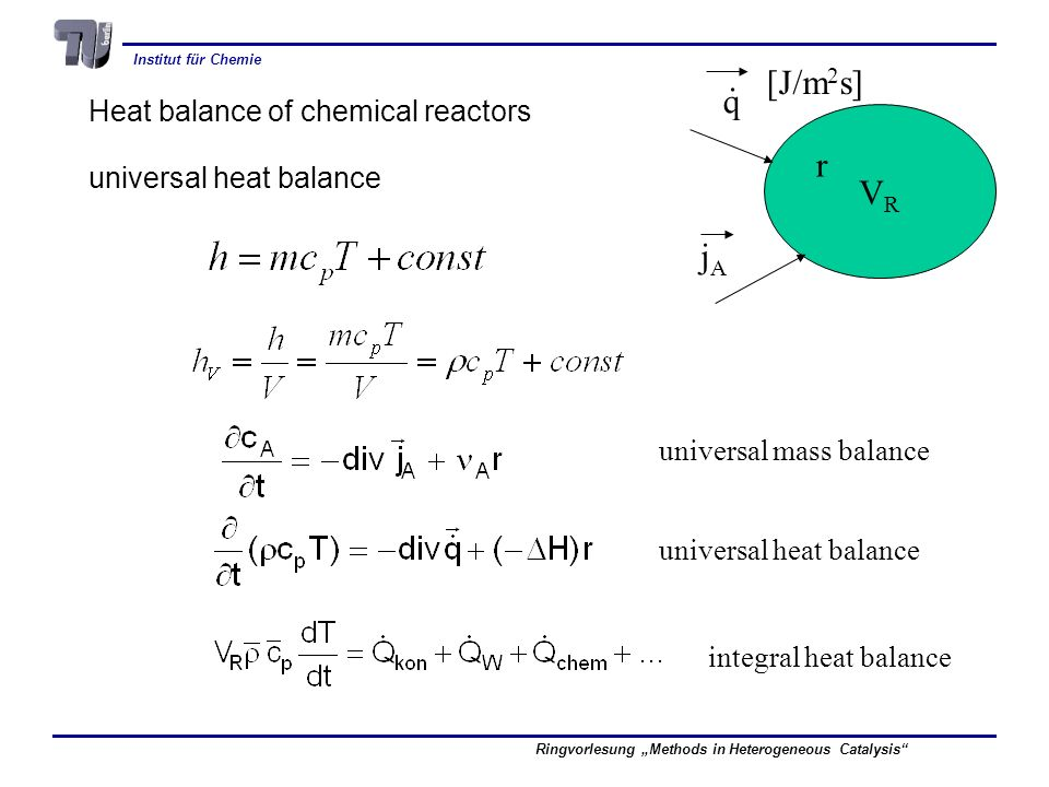 . [J/m2s] q r VR jA Heat balance of chemical reactors