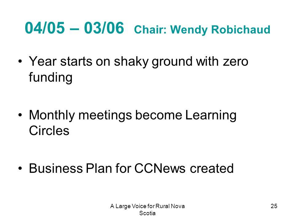 04/05 – 03/06 Chair: Wendy Robichaud