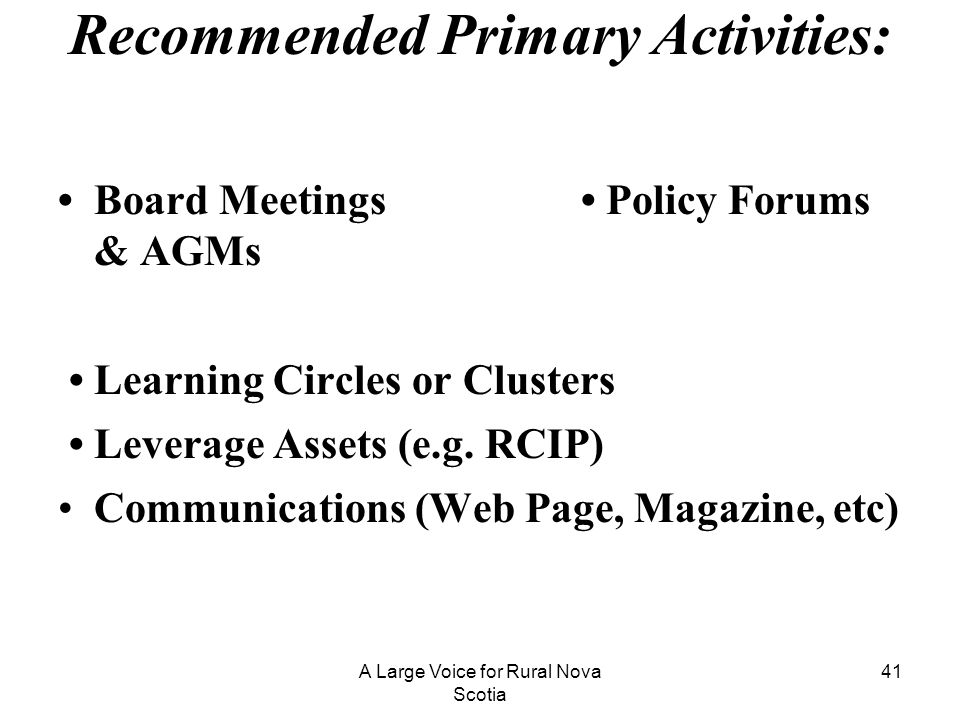 Recommended Primary Activities: