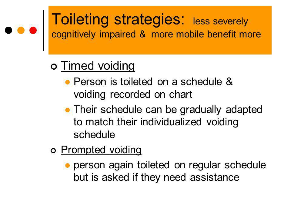 Toileting strategies: less severely cognitively impaired & more mobile benefit more