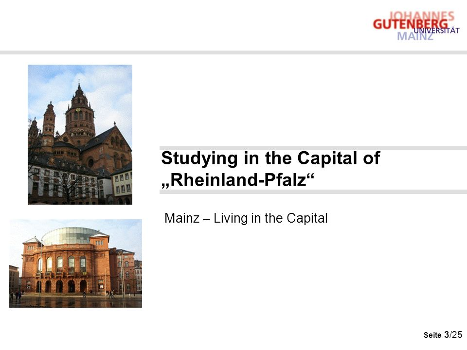 "Studying in the Capital of ""Rheinland-Pfalz Mainz – Living in the Capital"