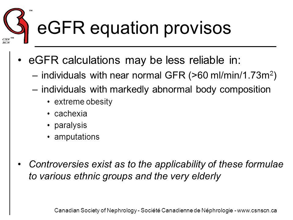 eGFR equation provisos