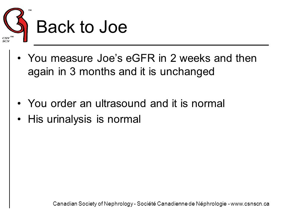 Back to Joe You measure Joe's eGFR in 2 weeks and then again in 3 months and it is unchanged. You order an ultrasound and it is normal.