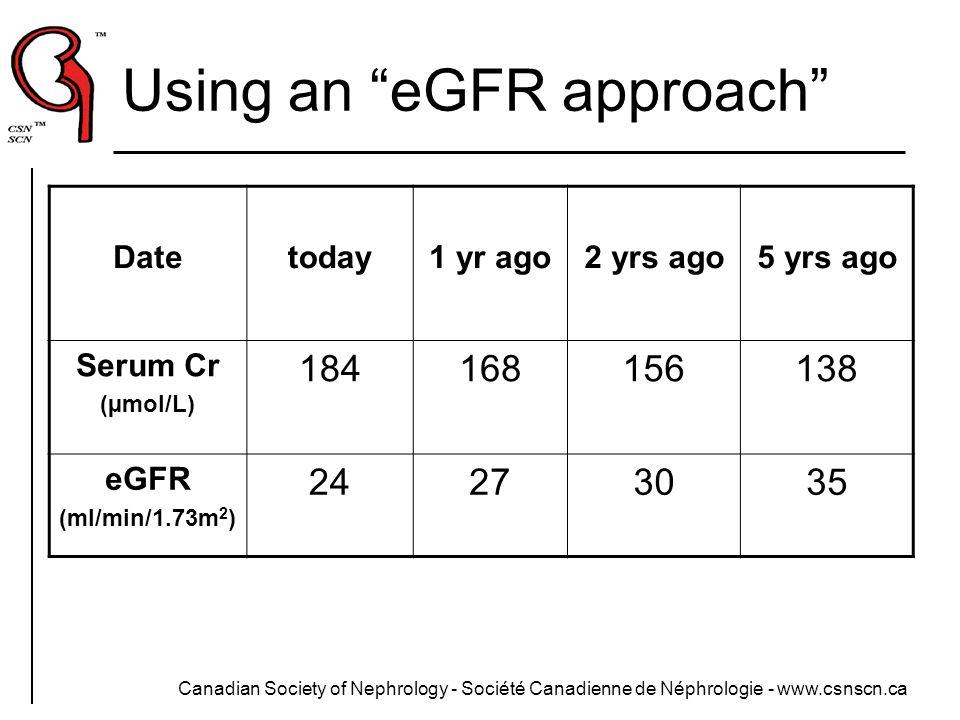 Using an eGFR approach