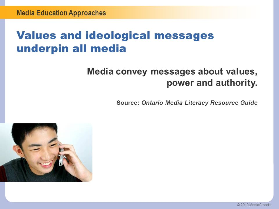 Values and ideological messages underpin all media