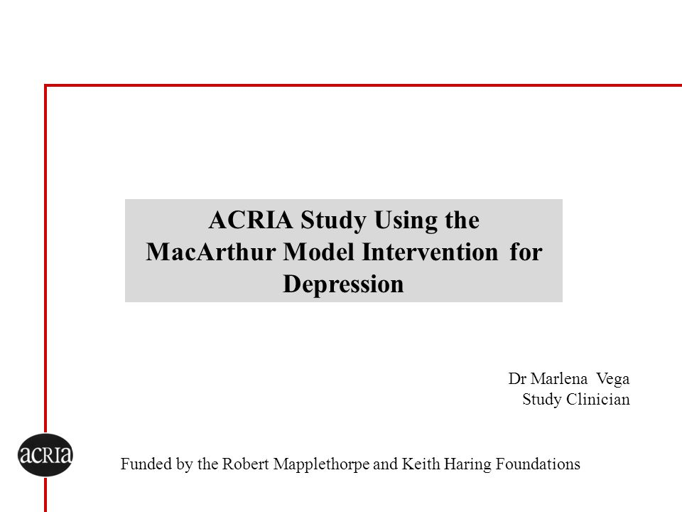 ACRIA Study Using the MacArthur Model Intervention for Depression