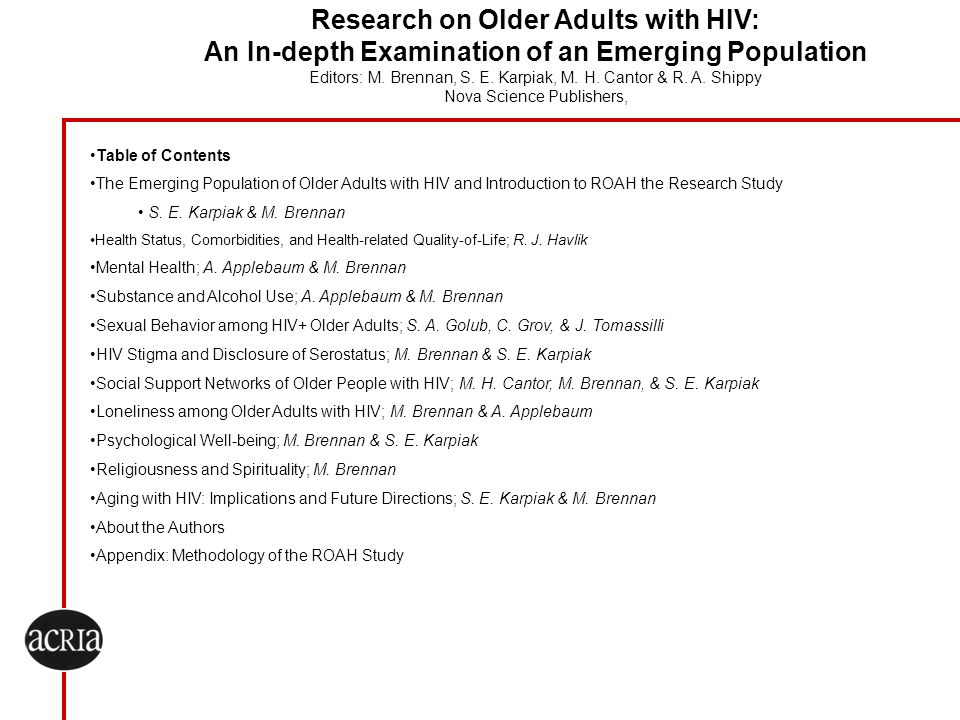 Research on Older Adults with HIV: