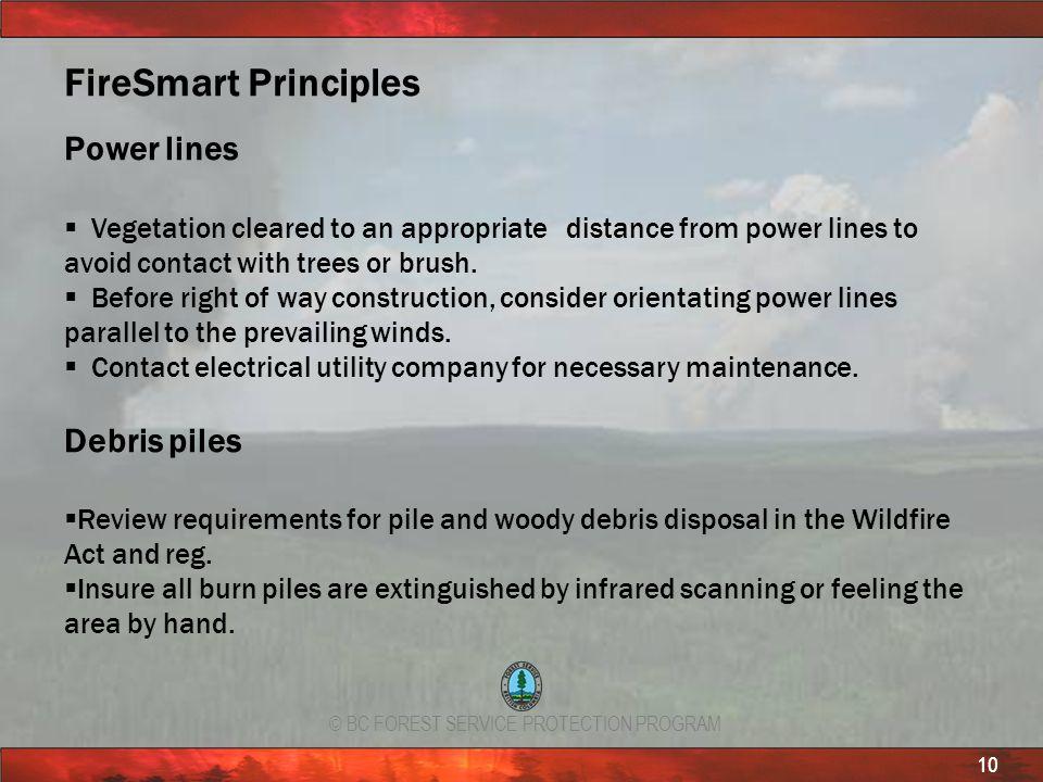 FireSmart Principles Power lines Debris piles