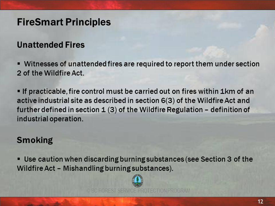 FireSmart Principles Unattended Fires Smoking