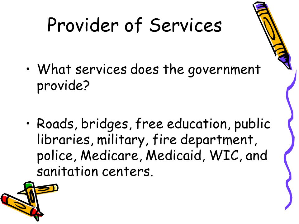 Provider of Services What services does the government provide