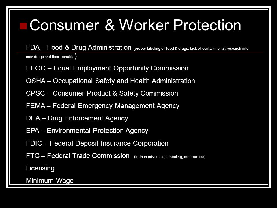 Consumer & Worker Protection