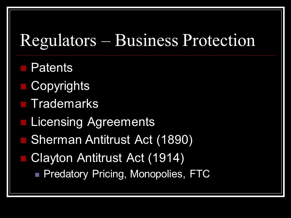 Regulators – Business Protection