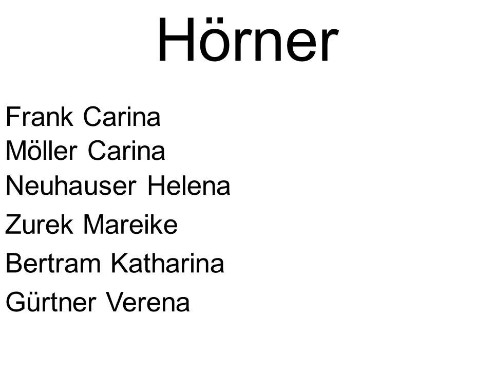 Hörner Frank Carina Möller Carina Neuhauser Helena Zurek Mareike