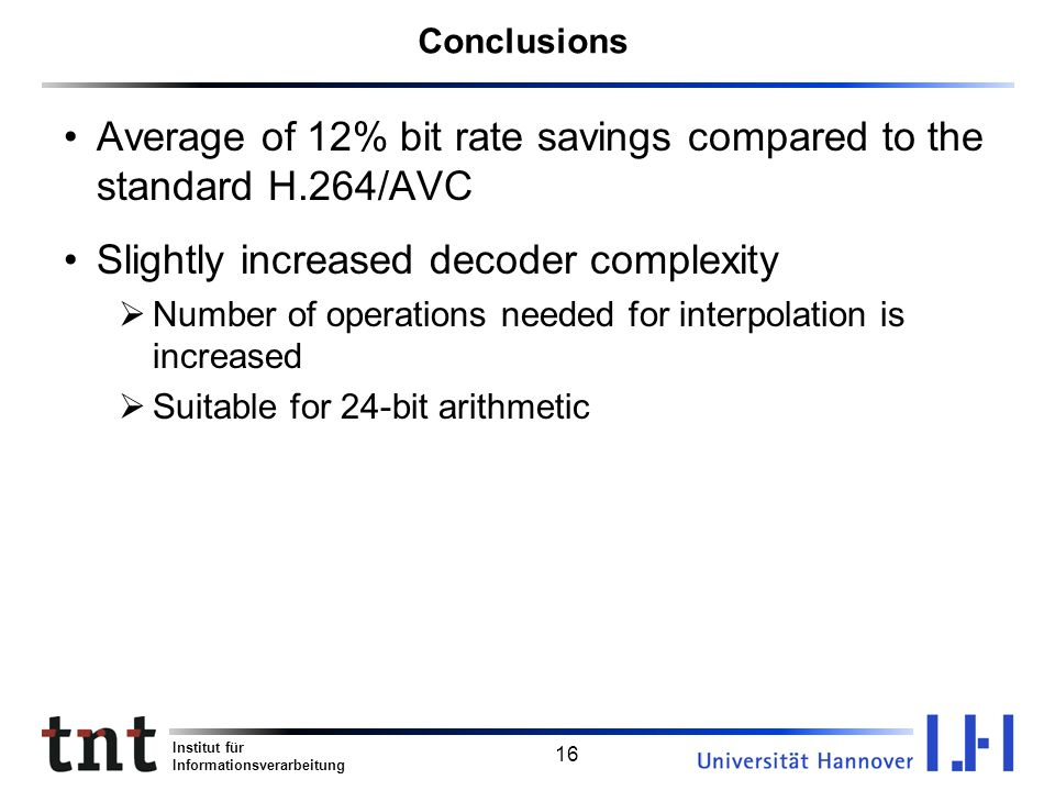 Average of 12% bit rate savings compared to the standard H.264/AVC