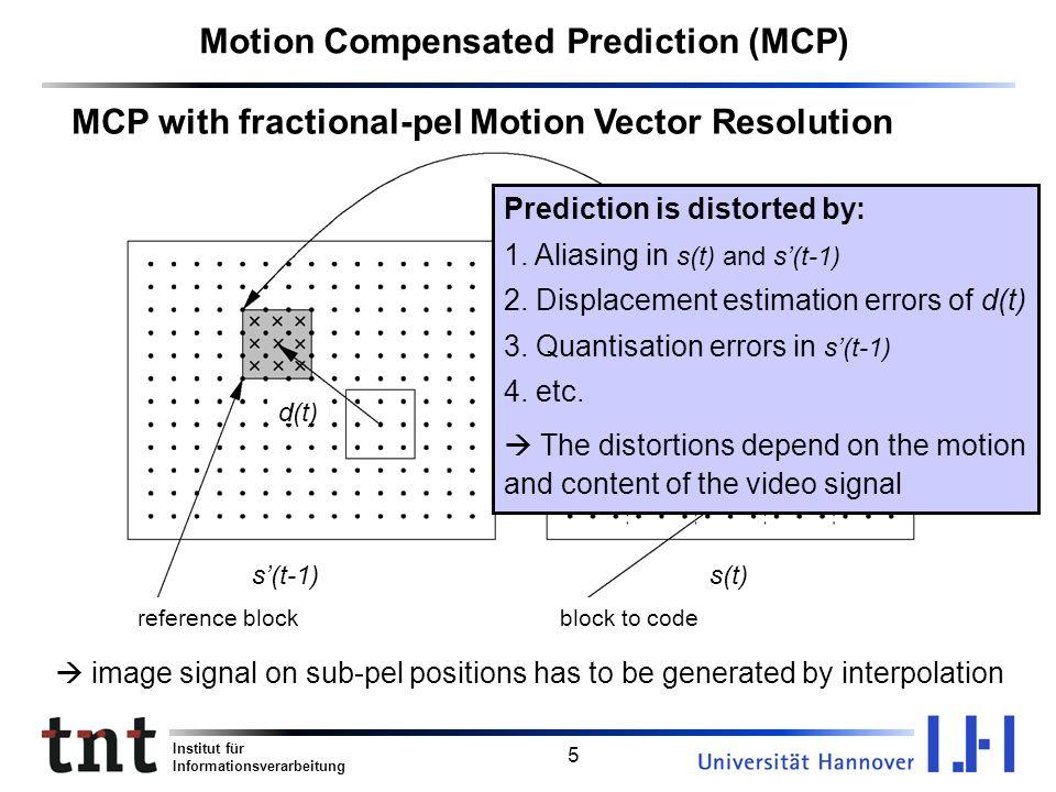 Motion Compensated Prediction (MCP)