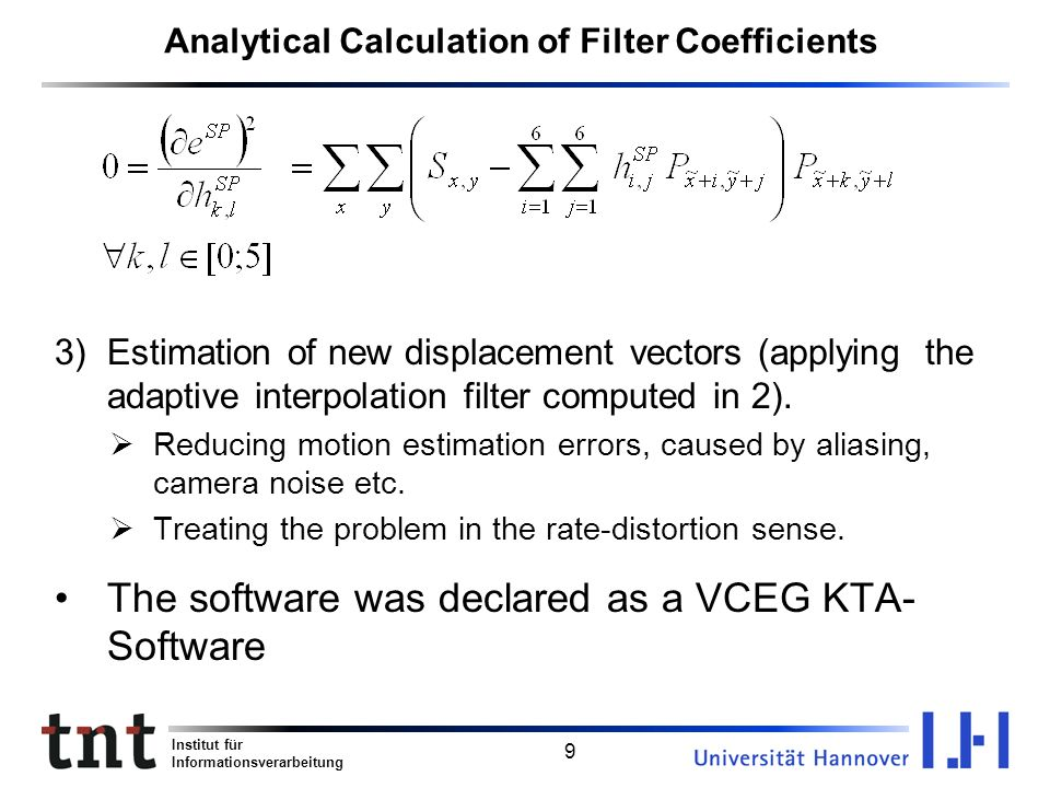 Analytical Calculation of Filter Coefficients