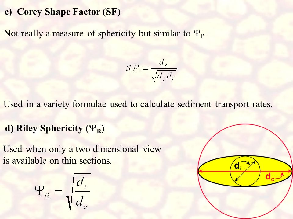 c) Corey Shape Factor (SF)