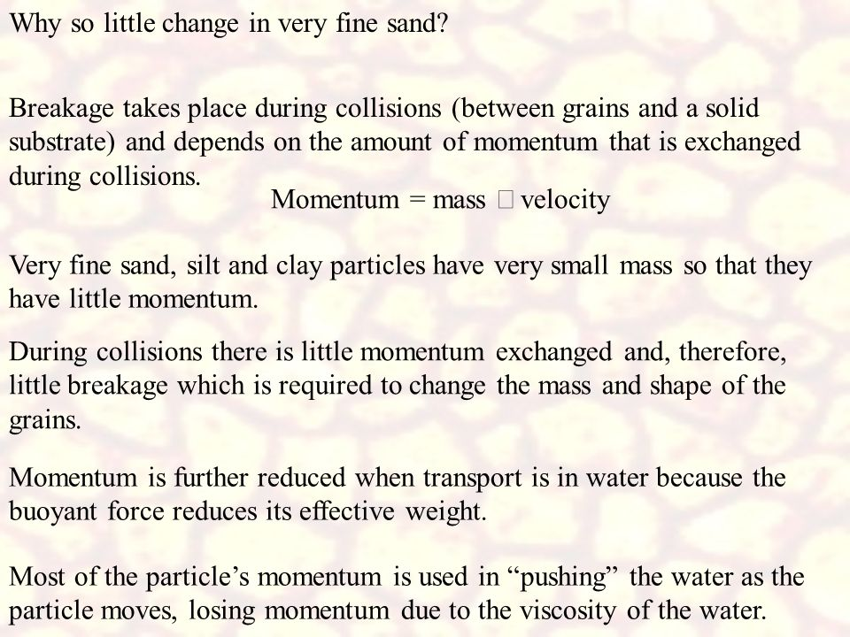 Why so little change in very fine sand