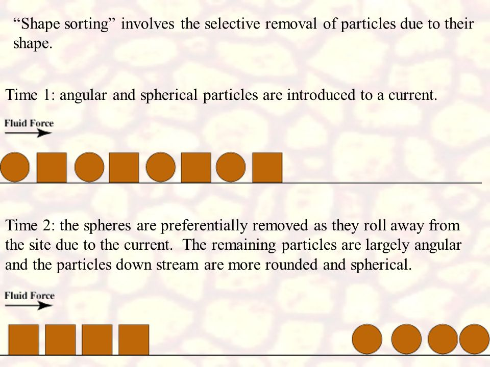 Shape sorting involves the selective removal of particles due to their shape.