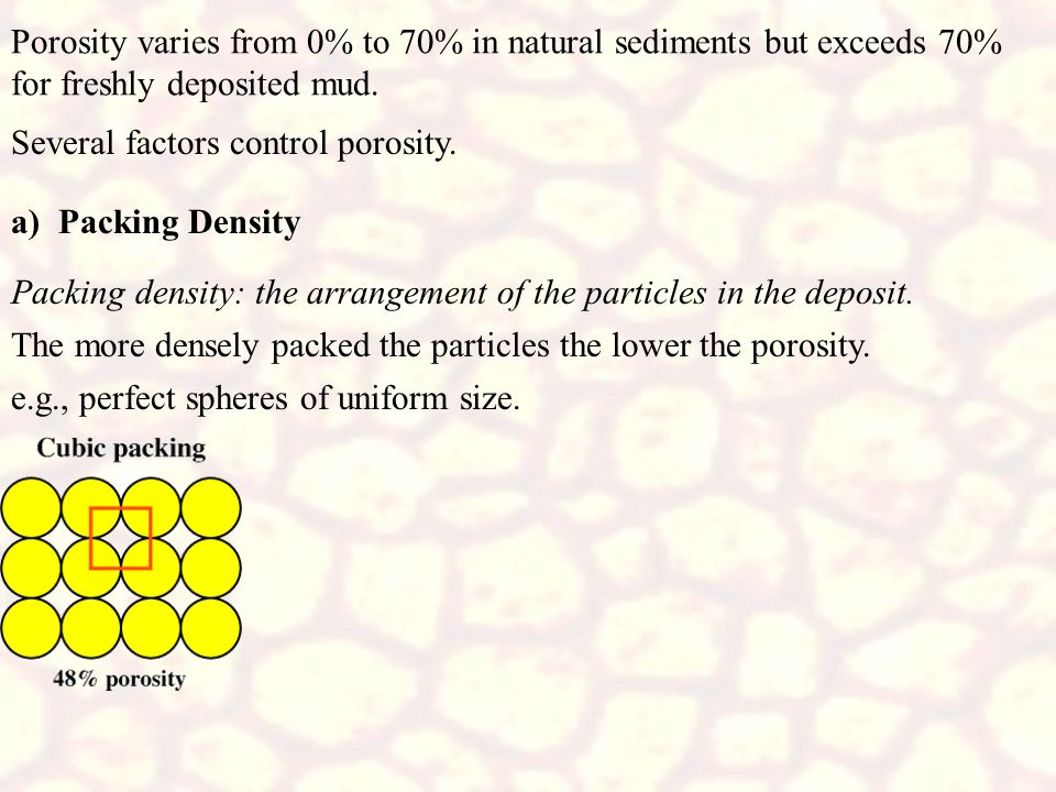Porosity varies from 0% to 70% in natural sediments but exceeds 70% for freshly deposited mud.
