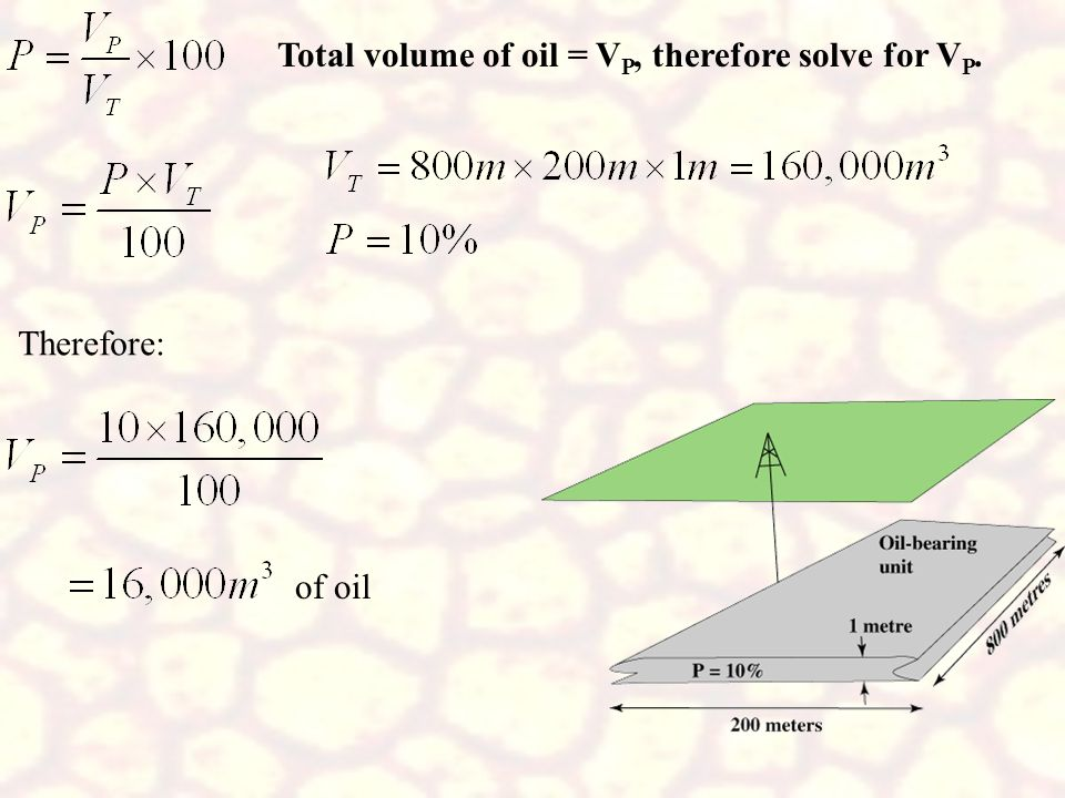 Total volume of oil = VP, therefore solve for VP.