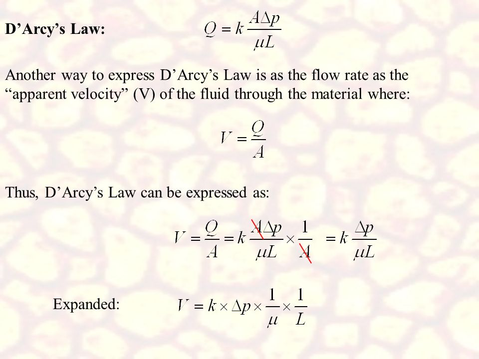 D'Arcy's Law: Another way to express D'Arcy's Law is as the flow rate as the apparent velocity (V) of the fluid through the material where: