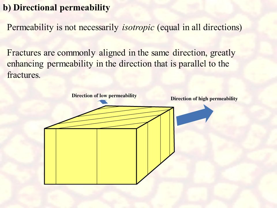 b) Directional permeability