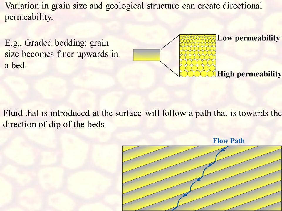 Variation in grain size and geological structure can create directional permeability.