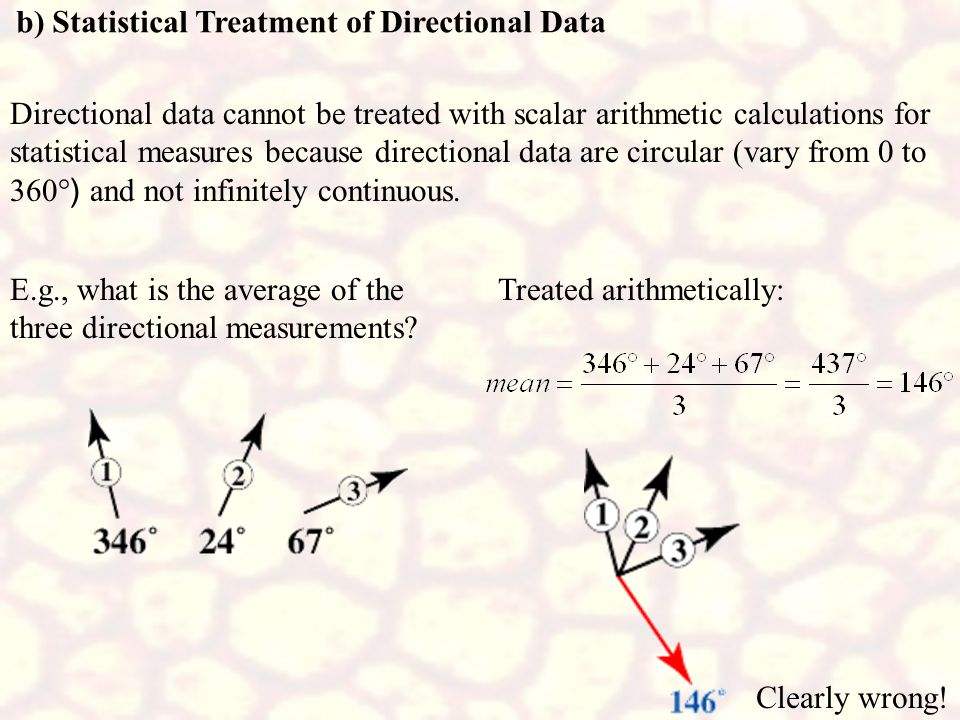 b) Statistical Treatment of Directional Data