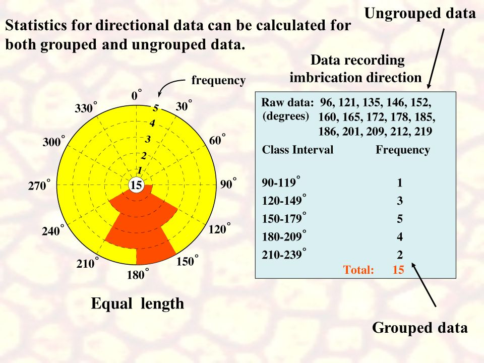 Ungrouped data Statistics for directional data can be calculated for. both grouped and ungrouped data.