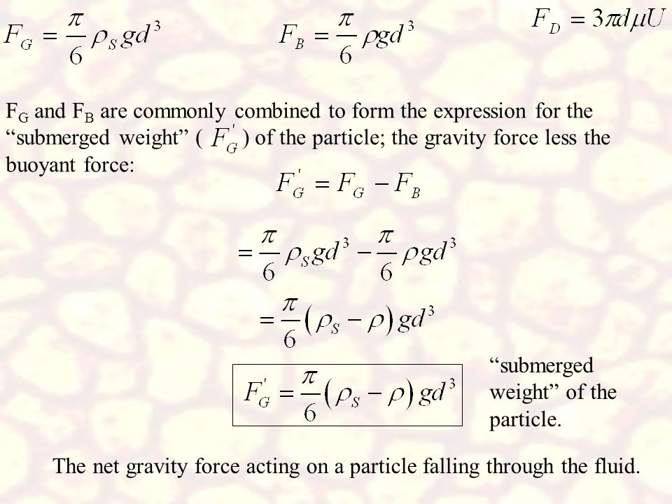 FG and FB are commonly combined to form the expression for the submerged weight ( ) of the particle; the gravity force less the buoyant force: