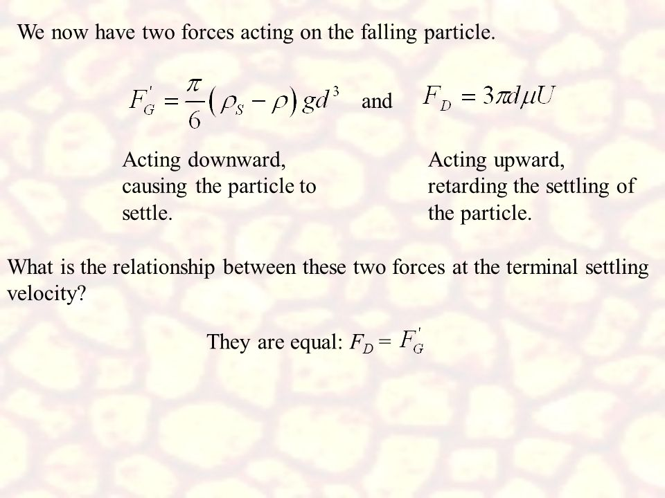 We now have two forces acting on the falling particle.