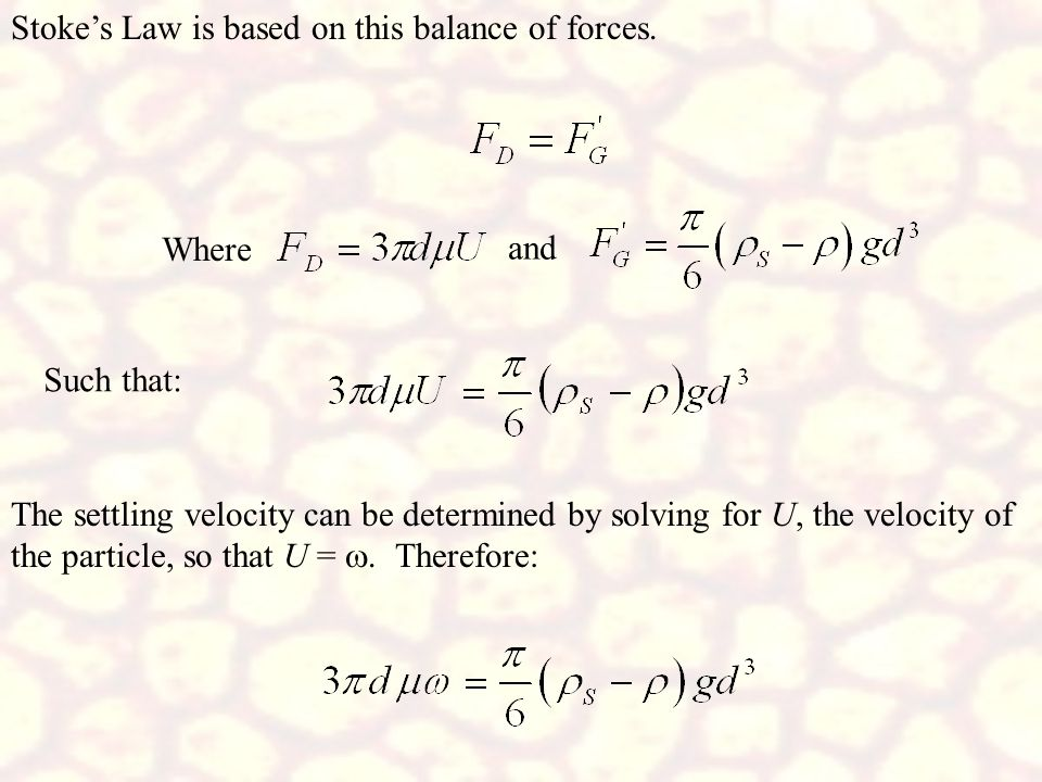 Stoke's Law is based on this balance of forces.