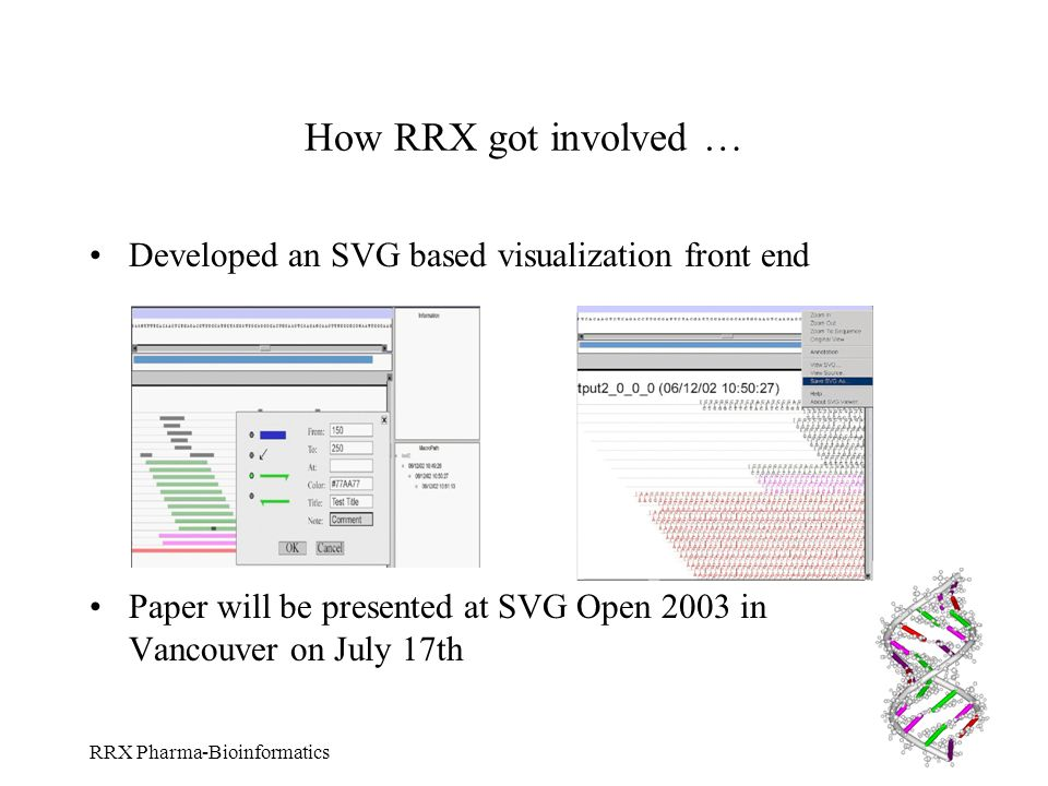 How RRX got involved … Developed an SVG based visualization front end