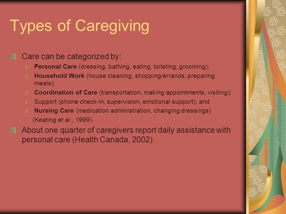 Types of Caregiving Care can be categorized by: