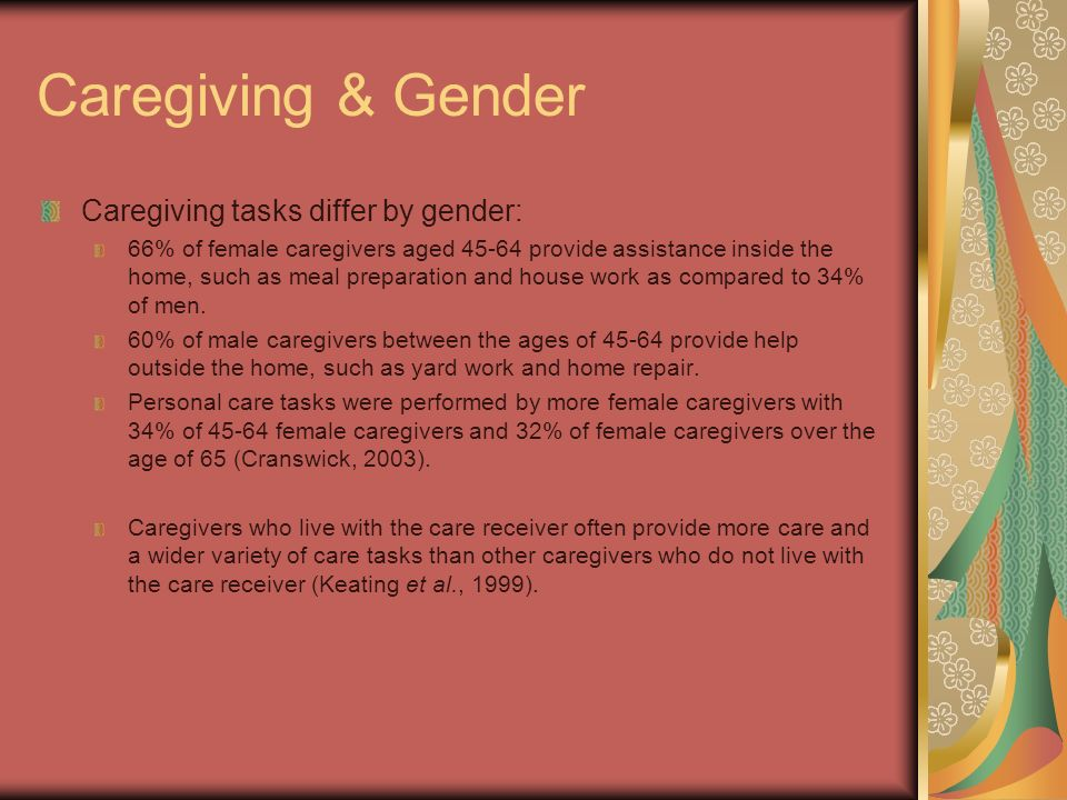 Caregiving & Gender Caregiving tasks differ by gender: