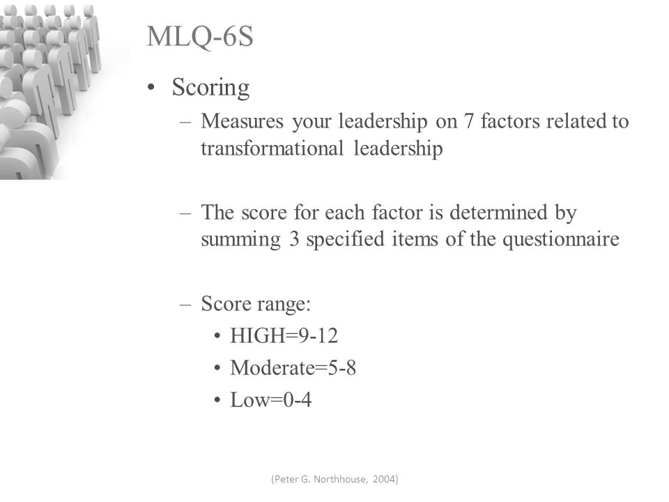 mlq transformational leadership Transformational leadership 9 two decades of research and development in transformational as measured by the multifactor leadership questionnaire (mlq.
