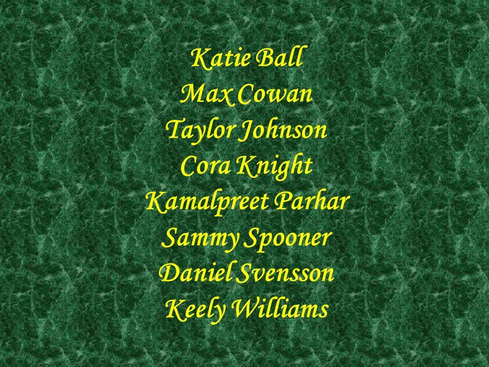 Katie Ball Max Cowan. Taylor Johnson. Cora Knight. Kamalpreet Parhar. Sammy Spooner. Daniel Svensson.