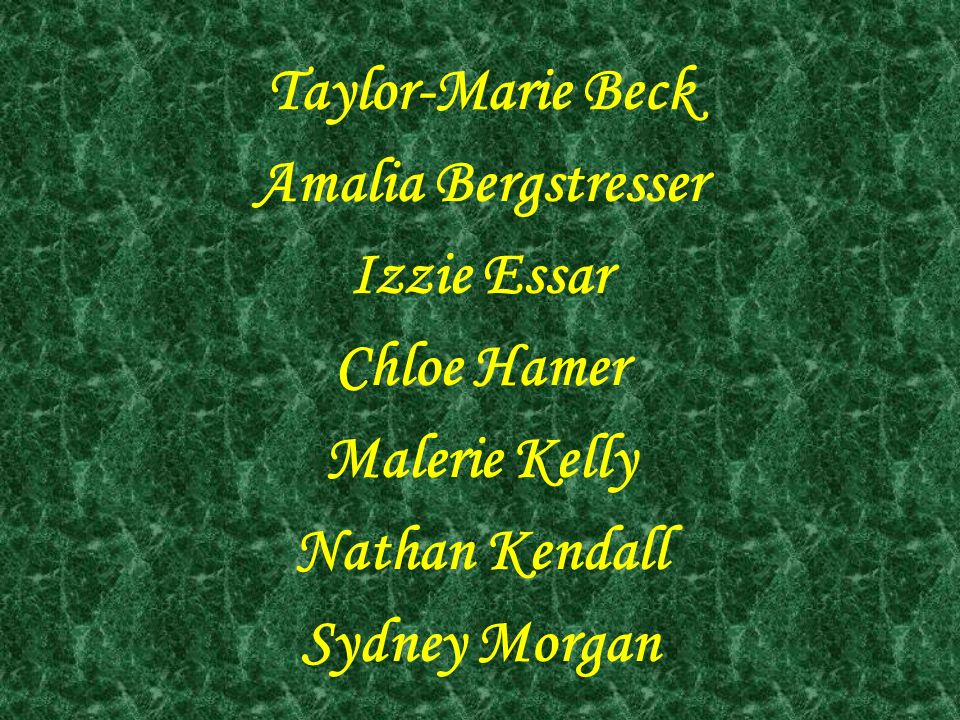 Taylor-Marie Beck Amalia Bergstresser. Izzie Essar. Chloe Hamer. Malerie Kelly. Nathan Kendall.