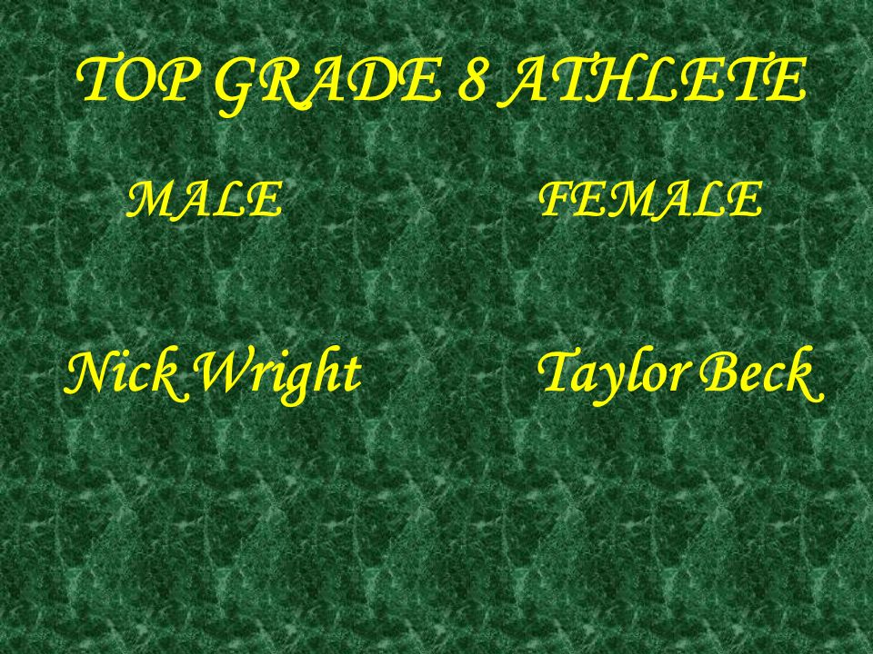 TOP GRADE 8 ATHLETE MALE FEMALE Nick Wright Taylor Beck