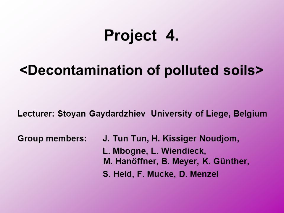 Project 4. <Decontamination of polluted soils>