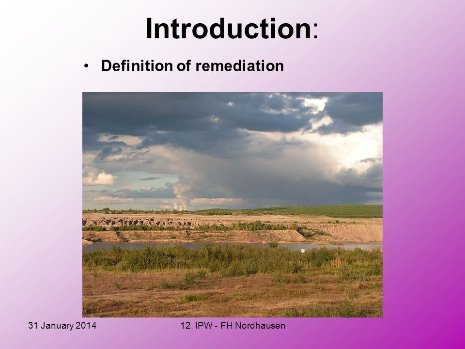 Introduction: Definition of remediation 27 March 2017
