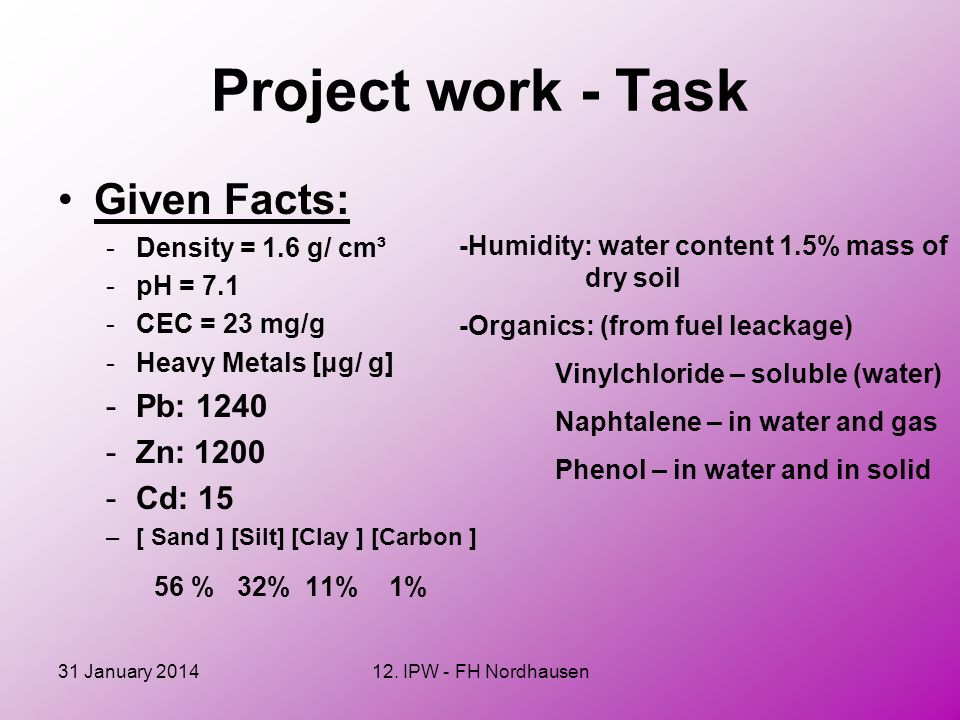 Project work - Task Given Facts: 56 % 32% 11% 1% Pb: 1240 Zn: 1200