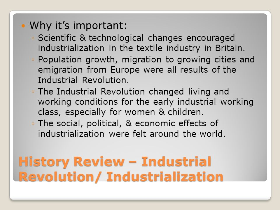 two most significant social consequences of the first industrial revolution Get an answer for 'what were the most important impacts of the industrial revolution i guess the first the most important impact of the industrial revolution.