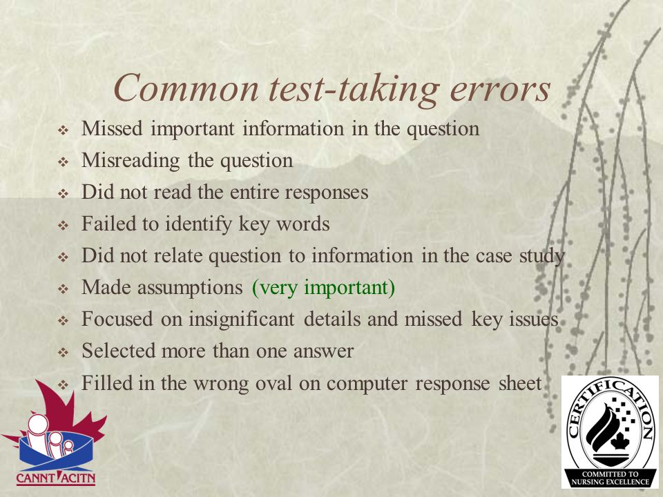 Common test-taking errors