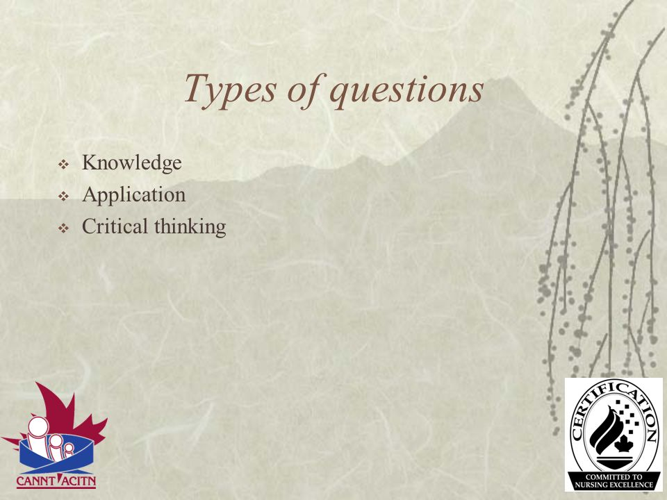 Types of questions Knowledge Application Critical thinking