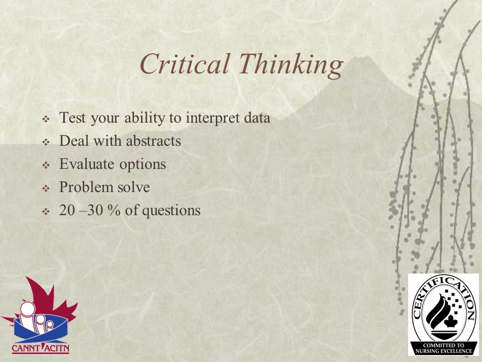 Critical Thinking Test your ability to interpret data