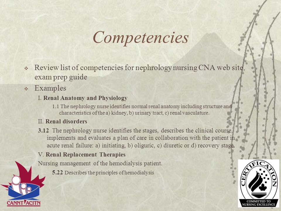 Competencies Review list of competencies for nephrology nursing CNA web site, exam prep guide. Examples.