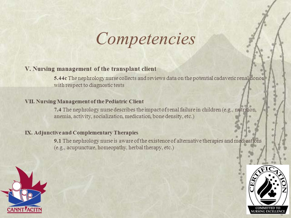 Competencies V. Nursing management of the transplant client